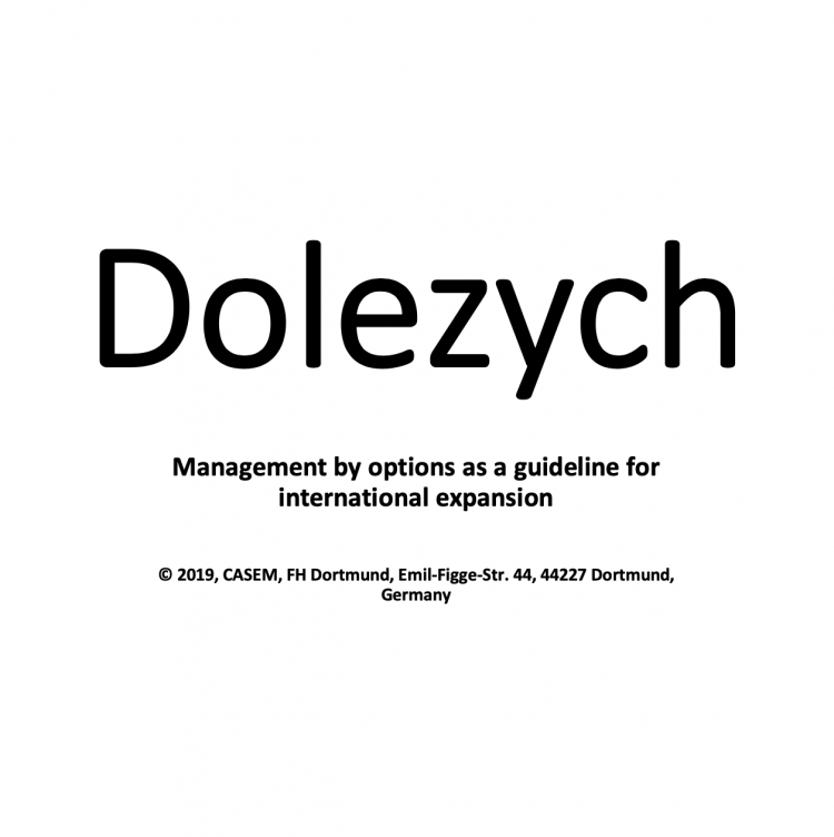 Dolezych – Management by options as a guideline for international expansion